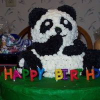 Panda Cake! This was for my friends birthday. I used the wilton 3d bear cake pan and then starred it with buttercream frosting