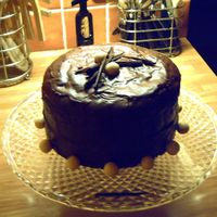 Chocolaty Chocolate a very rich chocolate cake decorated with chocolate fudge icing and chocolates