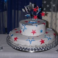 Blue And Pink Star Cake white 2 tiered roun cake with pink and blue stars and silver balls round the edges
