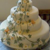 Orange Blossom And Ivy Cake a 5 tiered wedding cake with a waterfall of ivy, orange blossom and orange butterflys. ivory icing and ribbon.