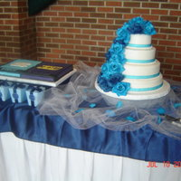 Danielle's Wedding Cake buttercream, articial flowers, 14-12-9-6, yellow and chocolate cake, groom's cake, ECU and Carolina house divided,...thanks for...