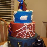 Super Hero's  Super Hero Cake - it is done in BC What do you think. I thought it would be fun to use some toys for the cake so it's like one big...