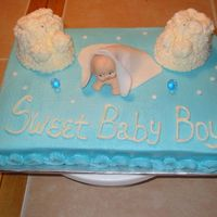 Peek A Boo Baby Boy Buttecream with buttercream bootie min cakes and fondant blanket