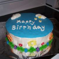Happy Birthday choc and white cake with buttercream filling and frosting.. fondant decorations.. thank you for looking