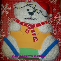 Skiing Birthday Bear Found this idea on wilton website. Made it for my DF boss to give to her daughter for her birthday. TFL