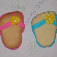 Flip Flop Cookies these are some cookies that i made just for fun. i never thought i could find such a great use for a foot shaped cookie cutter!