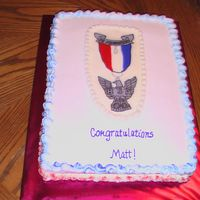 Eagle Scout This is a half white, half chocolate cake. FBCT BSA emblem. Used faux fondant icing, which was whiter than the FBCT. Red cake glitter on...