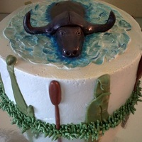 Water Buffalo Lemon cake, raspberry filling. Fondant buffalo and blue piping gel swirled into the buttercream for water.