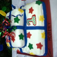 Roberts 1St Birthday white cake with fondant