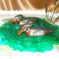 Wood Ducks gumpaste wood ducks on a logoon of piping gel with spaghetti and gumpaste cat tails--carrot cake w/ cream cheese icing