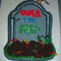 Over The Hill Tombstone Cake Cherry Chip cake as requested with cream cheese icing, crushed oreos for dirt and gummy worms