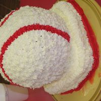 Tevin's Ice Cream Cake white cake, center is ice cream, all buttercream icing. this is the baseball filled with ice cream my son wanted. we had his party at our...