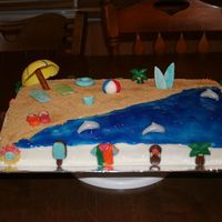 Beach Cake  This cake was for my son's fifth grade teacher who loves the beach. The sand is graham cracker crumbs, ocean is piping gel. The border...