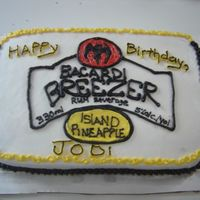 Bacardi Breezer sheet cake, decorated from the label of a bacardi breezer label, Island Pineapple.