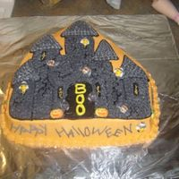 Haunted House Castle cake done with the castle pan from WILTON. Iced in BC!