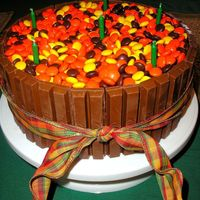 Autumn Candy Cake   Very sweet pumpkin cake with dark chocolate chips underneath all that candy!!!!!