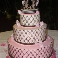 Pink And Brown cake is iced in buttercream, in varying shades of pink, the decoration is hand piped with brown buttercream. The flowers are done with...