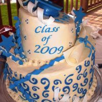 Hs Blue And White Grad Cake this is a 10in and 6in cake done in buttercream the design was stenciled on and the decorations were made of fondant