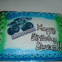 Grave Digger Birthday Cake edible image birthday cake.. Special thanks to gmcakes for her help!!