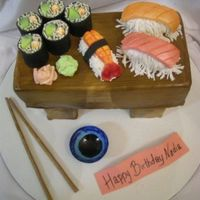 My Sushi Cake Everything is made out of cake, gumpaste and fondant.
