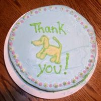 """thank You"" Dog Cake This is my mother's first cake (I have her permission to post it) from our cake class. She wanted to put a balloon in his mouth but..."