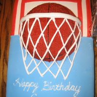 Hoop Dreams Basketball birthday cake. Buttercream Icing and Fondant. Soccer ball pan on top of 12x18 sheet.