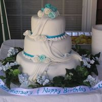 Turquoise & Ivory Elegance Three-tiered Surprise Anniversary/Birthday Cake. Stacked construction. Yellow cake iced in buttercream and covered with fondant. This was...