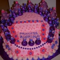 "Princess Crown Cake This is a 10"" triple stacked cake cut and shaped into a crown. The crown points are large strawberries dipped in purple chocolate and..."