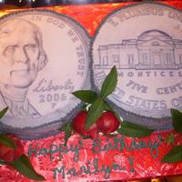 "55 Nickel Cake These are 2- 6"" cakes with an edible image of the front and back of nickles with BC icing to match. Did this cake in representation of..."
