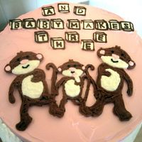 Baby Shower Monkey Cake This was for some parents-to-be who happen to love monkeys. It's a four-layer chocolate cake filled and frosted with bc. The letter...