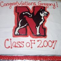 Northeastern University Graduation Cake I made the school logo using a chocolate transfer.