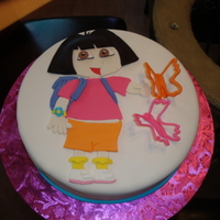 Fondant Dora Hello, this was a 10 inch round...all MMF, I didn't care for it at all....But here it is..Thanks for looking nIcole
