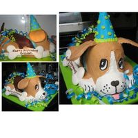 "Dog Cake Beagle All buttercream decor except royal icing bone. Cocoa puffs cereal for ""kibble"". Ice cream cone hat.All edible except ears (..."