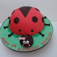 "Ladybug I made this cake from a 10"", and two 9"" round cakes carved. The head is two cupakes put together. The red fondant is MMF, and the..."