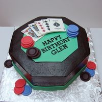 "Poker Cake This was made from a 10"" square pan with the corners cut. Cake is covred in bc, with green gumpaste for the center of the table. Cards..."
