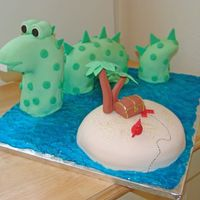 Sea Monster I actually did this cake for a baby shower. The sea monster is all cake, with a pvc pipe going through the head piece, and a small wooden...