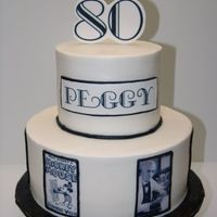 "Art Deco Cake Buttercream cake with edible images. Bottom is 10"" round and top tier is 6"" round. ""80"" is on gumpaste, and ""Peggy..."