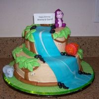 Ari & Garin's Jungle Cake Buttercream cake w/fondant accents- totally inspired by some great CC cakes- thanks!