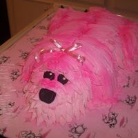 "Meri's Puppy Cake   My daughter loves pink, puppies, and princesses! buttercream puppy ""spray-painted"" pink w/ fondant nose and eyes."