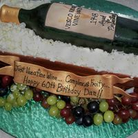 60Th Birthday Vintage My BIL's 60th birthday celebration cake. He has started a small vineyard and is bottling his first wine this year. This is a repilca...