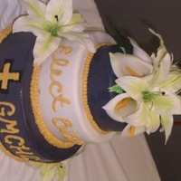 "3 Tiered Mmf A disaster turned miracle! 6', 8"", and 10"" rounds w/ MMF and fondant calla lillies..."