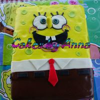 Sponge Bob 2 butter 11x15 cakes iced with buttercrean french vanilla frosting and covered with MMF.
