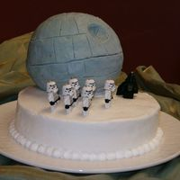 Death Star This is the final version of the Death Star for my brother-in-laws grooms cake. The Storm Troopers and Darth Vader are mini Lego keychain...