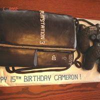 Playstation 3 Cake W/controllers This was a cake I did for a United Way Silent Auction. The winner of the auction wanted a cake for his 15 year old son's birthday....