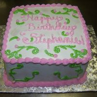 Stephanie's Birthday Cake Tinkerbell colors inspired this cake. Thanks TT for the inspiration on making the scrolling shiney!