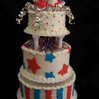 Red, White And Blue Birthday This cake was for a little girl's 1st Birthday. She was born 15 minutes shy of the fourth. Very patriotic parents! ;) Bottom layer,...