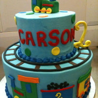 Train Birthday Buttercream with fondant accents.