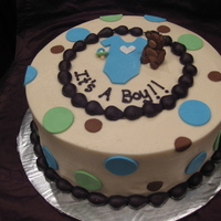 Baby Boy Cake Buttercream with fondant accents