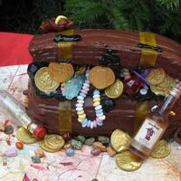 Treasure Chest Cake  I couldn't have pulled this off without help from the cakes like this on the site before me! This was for a pirate themed suprise...