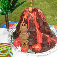 Volcano Cake  My son had a Tiki themed birthday party and wanted a cake that looked like a volcano. I took several elements from different ideas on the...